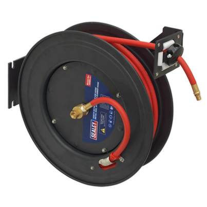 Sealey Tools Retractable Air Hose Steel Reel 20m Ø10mm ID Rubber Hose