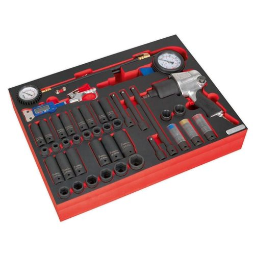 Sealey Tools Tool Tray with Impact Wrench, Sockets & Tyre Tool Set 42pc