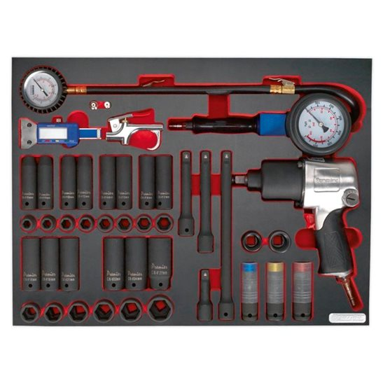 additional image for Tool Tray with Impact Wrench, Sockets & Tyre Tool Set 42pc