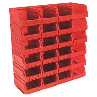 Sealey Tools Plastic Storage Bin 105 x 165 x 85mm - Red Pack of 24