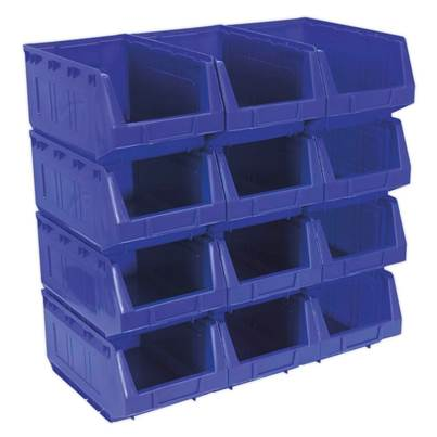 Sealey Tools Plastic Storage Bin 210 x 355 x 165mm - Blue Pack of 12