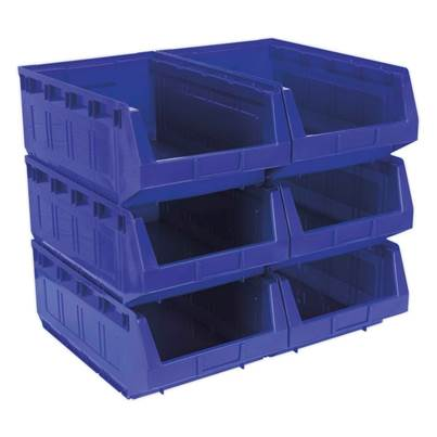 Sealey Tools Plastic Storage Bin 310 x 500 x 190mm - Blue Pack of 6