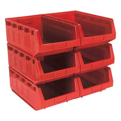 Sealey Tools Plastic Storage Bin 310 x 500 x 190mm - Red Pack of 6